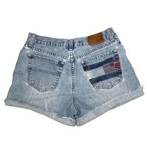 Tommy Hilfiger Flag Boyfriend Denim Cutoff Shorts